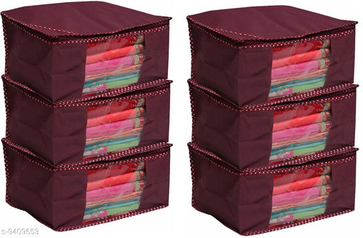 Mehroom Solid  Front Transparent Non-Woven Saree Cover Pack of 6