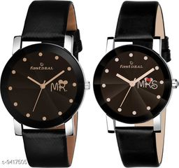 FastDeals Mr & Mrs couple Dial Leather Strep Couple Watch Analog Watch - For Men & Women