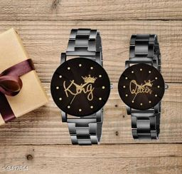 Skylark Crystal-King Queen-Chain-Couple Premium Quality Designer Fashion Analog Watch - For Men & Women