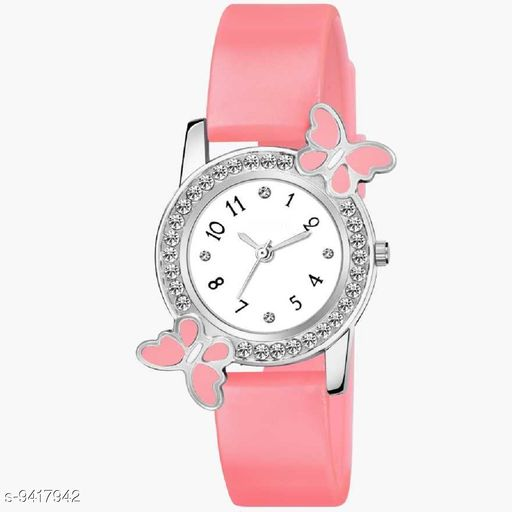 KicK Attractive Pink Butterfly color Diamond PU Material Fast Selling Women Analog Women Watch