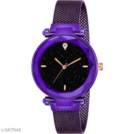 KicK Luxury Mesh Magnet 4 Figar Watches For girls Fashion Mysterious Purple Lady Analog Women Watch