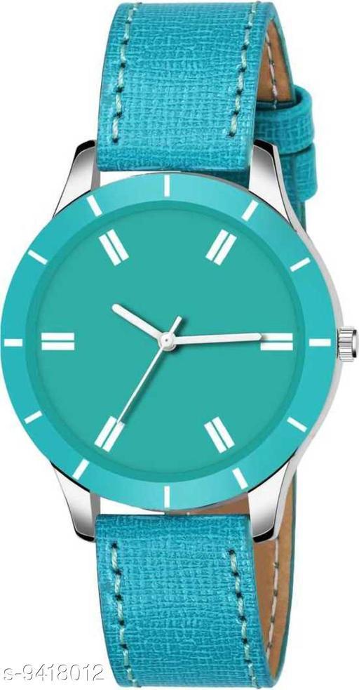 KicK New Stylish Blue Cut Glass Leather Strap Watch For women Analog Women Watch
