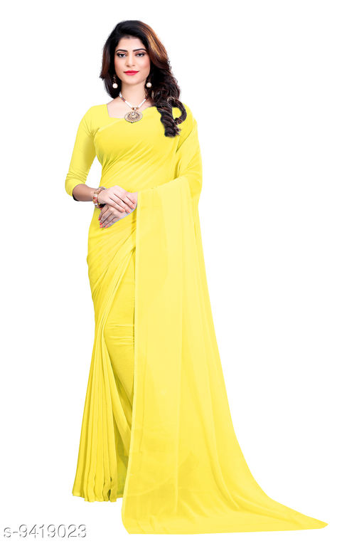 Saree - light_yellow Georgette Casual Wear Dyed Saree With Unstiched Blouse - S282FS608  - RK Fashions