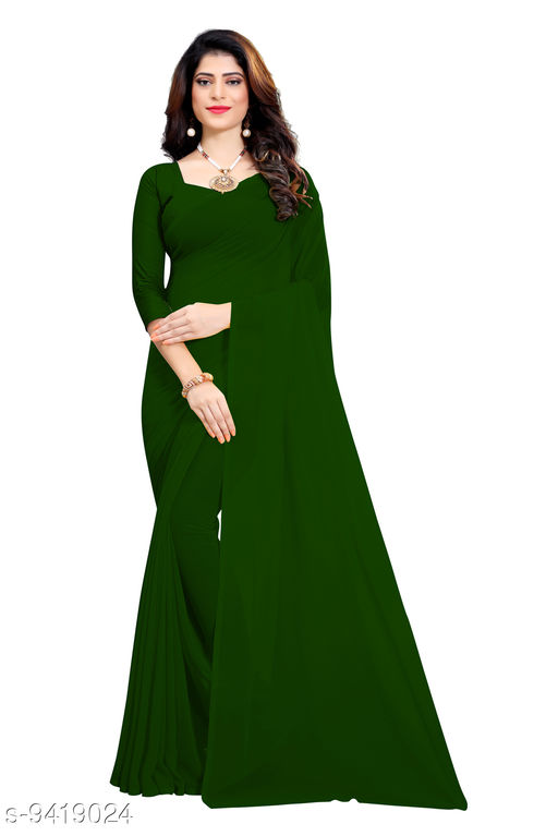 Saree - dark_green Georgette Casual Wear Dyed Saree With Unstiched Blouse - S296FS630  - RK Fashions