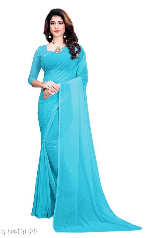 Saree - turquoise Georgette Casual Wear Dyed Saree With Unstiched Blouse - S284FS610  - RK Fashions