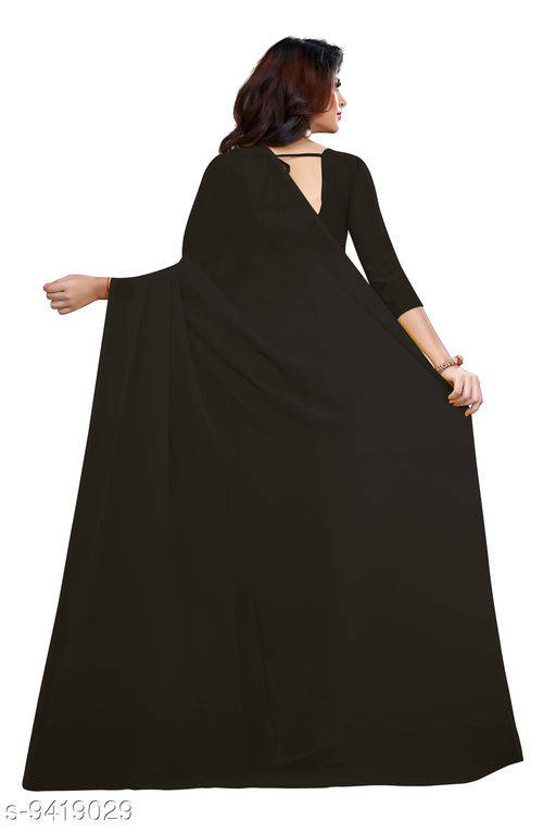 Saree - black Georgette Casual Wear Dyed Saree With Unstiched Blouse - S301FS637  - RK Fashions