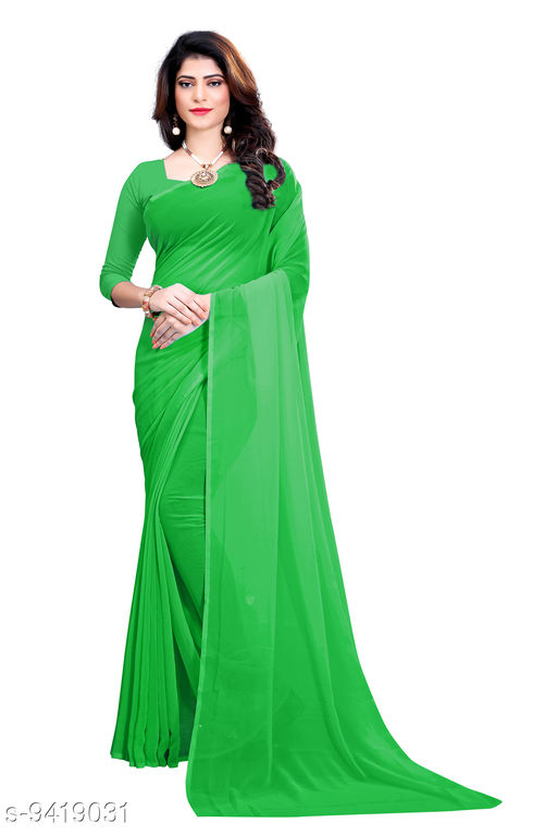 Saree - light_green Georgette Casual Wear Dyed Saree With Unstiched Blouse - S286FS614  - RK Fashions