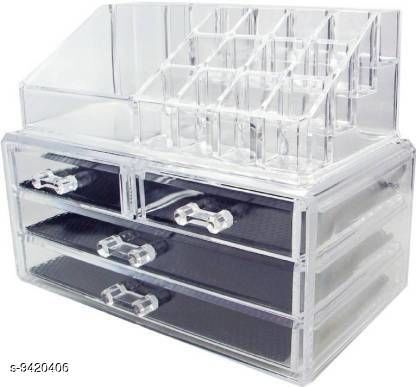 Box Storage ZEVORA Cosmetic Jewellery makeup Storage Box kit with 3 Drawers Clear Acrylic Stand and organizer Makeup, Jewellery Vanity Box Jewellery, Makeup Vanity Box  (Transparent) Makeup Vanity Box  (Transparent)  *Material* Plastic  *No. of Compartments* 5  *Pack* Pack of 1  *Product Length* 17 cm  *Product Breadth* 24 cm  *Product Height* 14 cm  *Sizes Available* Free Size *    Catalog Name: Unique Jewellery Boxes CatalogID_1653978 C131-SC1625 Code: 918-9420406-
