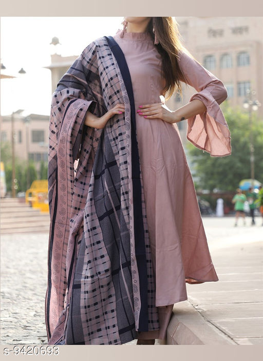 Rayon Rosy Brown Party Wear Stitched Long Kurta Along With Pants And Printed Dupatta