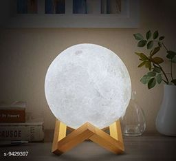 Mr Brand Creation 3D USB Rechargeable Moon Lamp Color Changing Sensor Touch Crystal Ball Night Lamp with Wooden Stand, Bedroom Lamp, Night Lamp for Bedroom, Bedroom Lamp for Kids, Bedroom Lamps for Night (Multicolor)