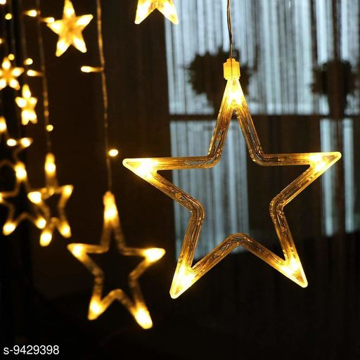 Mr Brand Creation Star Curtain Lights 138 LED Star String with 10 Lights Stars Shaped String Lights Plug in Curtain Lights for Bedroom, Wedding, Party, Christmas, Decorations for Home (Yellow Color)