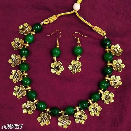 Oxidised Flower Golden with Color Beads Necklace and Earrings