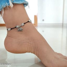 Unique and Stylish Oxidized Threadwork Anklet