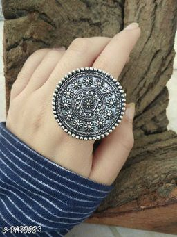 Oxidised Silver Trendy Brass Women's Finger Ring