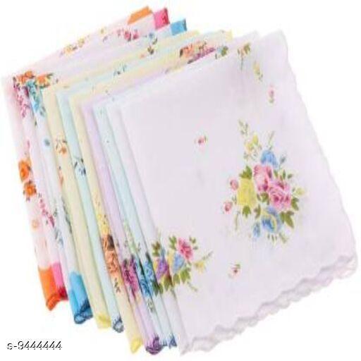 Stylish  Women's White Cotton Handkerchiefs