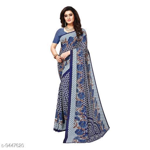 Blue Georgette Printed Women Saree