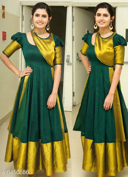 Designer Wear Dark Green Long Anarkali Gown With Silk Border Lace