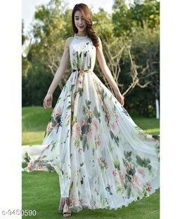 Eye-Catchy Flower Printed Party Wear Floor Touch Stitched Western Gown