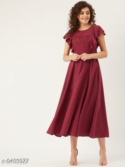 U&F Women Maroon Butterfly Applique Detail A-Line Dress