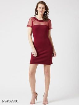 Women's Solid Bodycon Polyester Dress