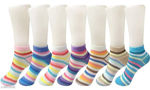 PinKit Trendy Stylish Ankle Length Multicolored Lining  Socks for Women (Pack of 7 Pairs)