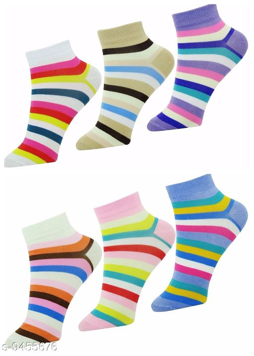 PinKit Trendy Stylish Ankle Length Multicolored Lining  Socks for Women (Pack of 6 Pairs)
