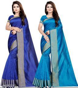 Cotton Silk Woven Combo of 2 Saree (Blue-Sky Blue_Free Size)