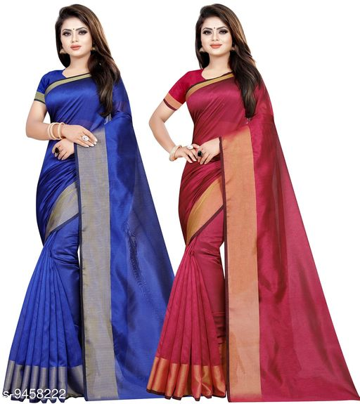 Cotton Silk Woven Combo of 2 Saree (Blue-Pink_Free Size)
