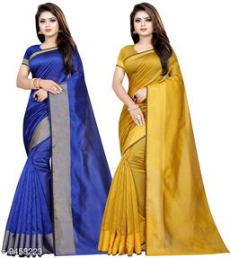 Cotton Silk Woven Combo of 2 Saree (Blue-Mustrad_Free Size)
