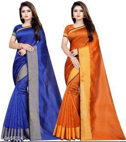 Cotton Silk Woven Combo of 2 Saree (Blue-Orange_Free Size)