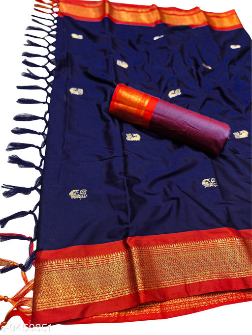 MH Traditional Paithani Silk Sarees With Contrast Blouse Piece (Navy & Red)