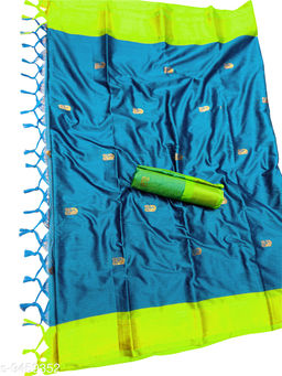 MH Traditional Paithani Silk Sarees With Contrast Blouse Piece (Sky Blue & Neon)