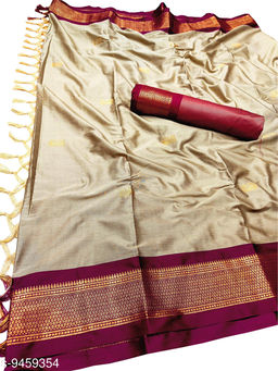 MH Traditional Paithani Silk Sarees With Contrast Blouse Piece (Chiku & Red)