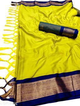 MH Traditional Paithani Silk Sarees With Contrast Blouse Piece (Lemon & Grey)