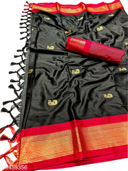MH Traditional Paithani Silk Sarees With Contrast Blouse Piece (Black & Red)