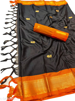MH Traditional Paithani Silk Sarees With Contrast Blouse Piece (Black & Orange)