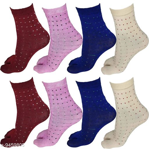 PinKit Women Ladies Cotton Ankle Length Socks with Thumb (Pack of 8 Pairs, Color)