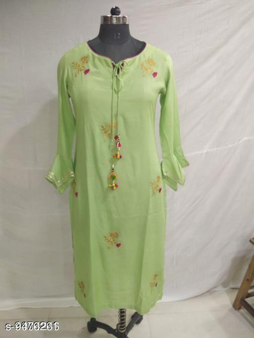 Women's Embroidered Rayon Kurti