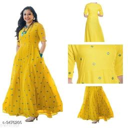 Women Rayon Flared Embellished Yellow Kurti