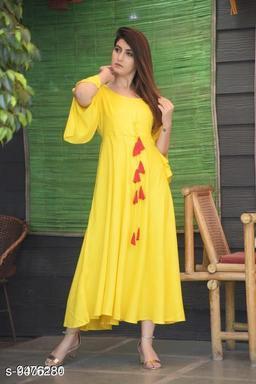 Women Rayon Flared Solid Yellow Kurti