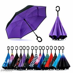 Double Layer Inverted Reversible No Drip Umbrella with C Shape Handle - Multi Color
