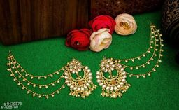 Fancy Long Baahubali Hair Chain Earrings