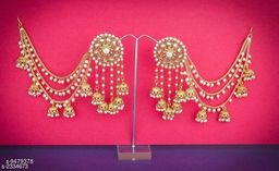 Alloy Jhumki Earrings with Hair Chain
