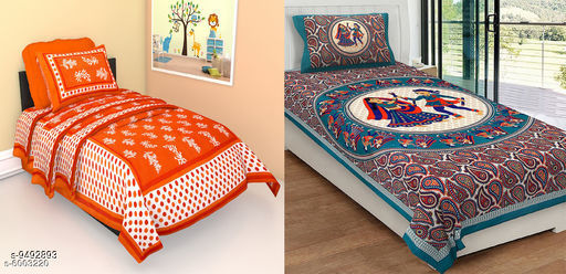 Navratri/Orange - Jaipuri Printed Cotton 2 Singal Bedsheet With 2 Pillow Covers -combo-101-115