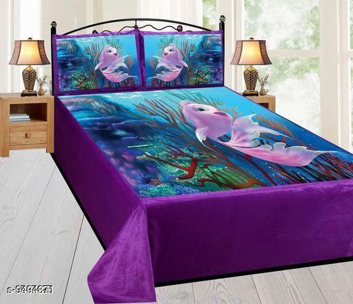 Navratri/Purple - Designed Artistic Velvet Printed Double Bedsheet