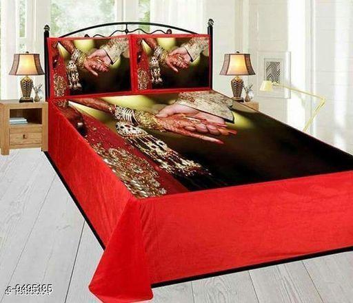 Navratri/Red - Trendy Velvet Printed Double Bedsheet