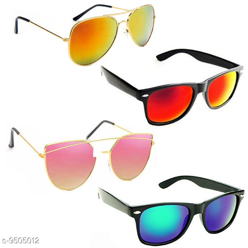 Stylish & Fashionable Sunglasses With Box For Men Women Boys & Girls (Pack Of 4)