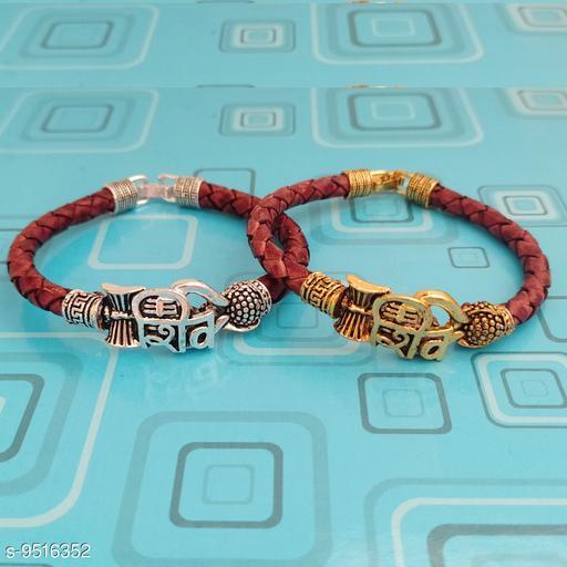 Sullery Handcrafted Spiritual One Sided Mahakal Trishul Damru OM Rudraksha Multicolor Leather Metal Bracelet For Men And Boys