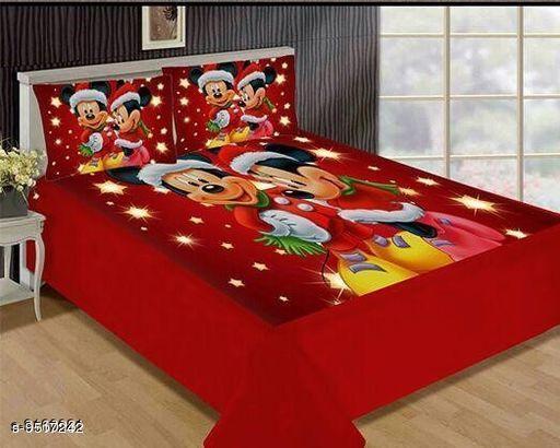 Navratri/Red - Designed Comfortable Velvet Printed Double Bedsheet