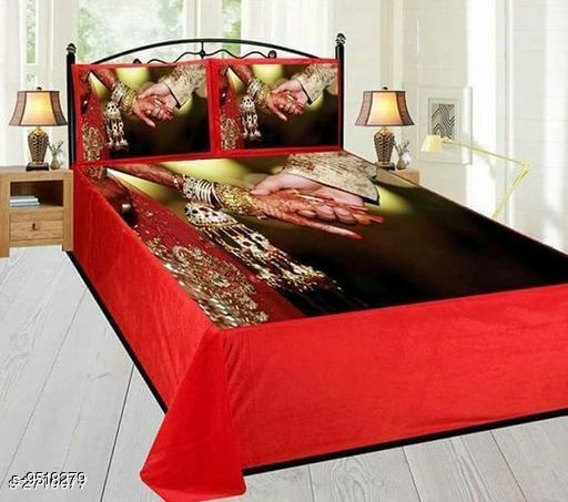 Navratri/Red - Elite Velvet Printed Double Bedsheet